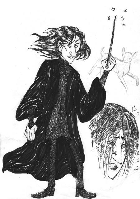 ANGST!!! Tunnen oloni niin höpsöksi, jos yritän piirtää angstista fanitaidetta. Kalkarosta se kuitenkin pukee (tääkin Ghibli-piirtovintissä piirretty, tosin ei tullut kyllä yhtään ghiblimäistä tästä.)